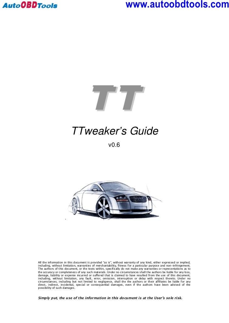 audi tt tweaker user guide manual rh slideshare net 2000 Audi TT 2003 Audi TT