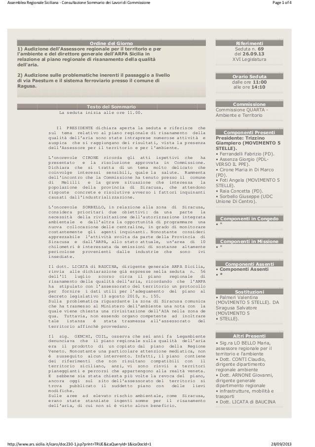 Assemblea Regionale Siciliana - Consultazione Sommario dei Lavori di Commissione  Page 1 of 4  Ordine del Giorno 1) Audizi...