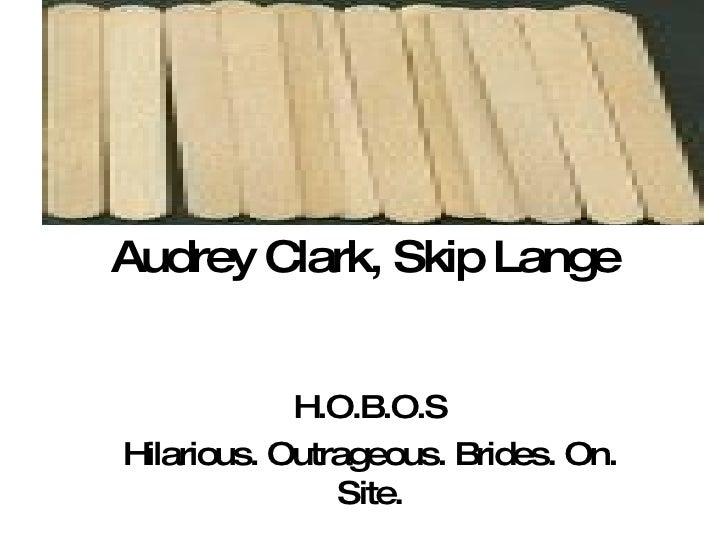 Audrey Clark, Skip Lange H.O.B.O.S Hilarious. Outrageous. Brides. On. Site.