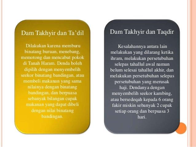 Dam Takhyir dan Ta'dil  Dilakukan karena memburu  binatang buruan, menebang,  memotong dan mencabut pokok  di Tanah Haram....