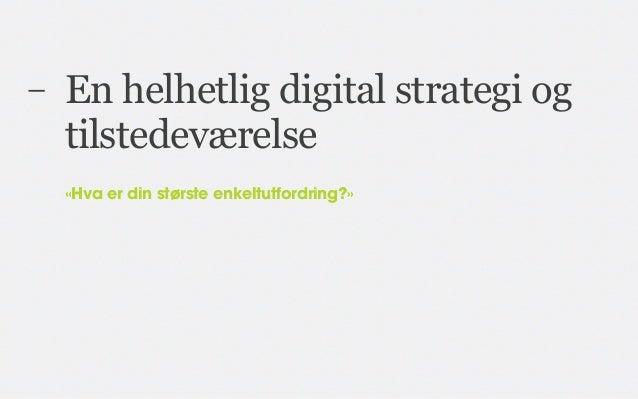 –   En helhetlig digital strategi og    tilstedeværelse    «Hva er din største enkeltutfordring?»