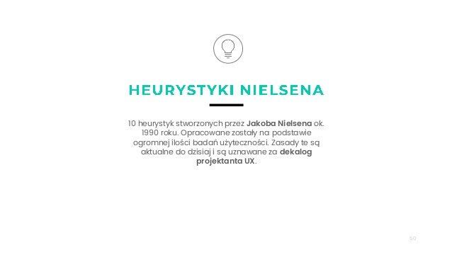 50 10 heurystyk stworzonych przez Jakoba Nielsena ok. 1990 roku. Opracowane zostały na podstawie ogromnej ilości badań uży...