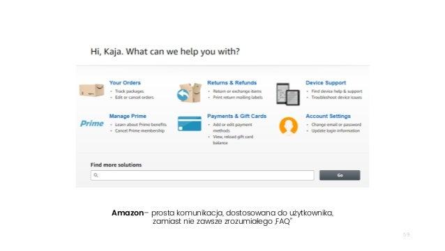 """59 Amazon– prosta komunikacja, dostosowana do użytkownika, zamiast nie zawsze zrozumiałego """"FAQ"""""""