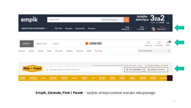 66 Empik, Zalando, Piotr i Paweł – spójne umiejscowienie koszyka zakupowego