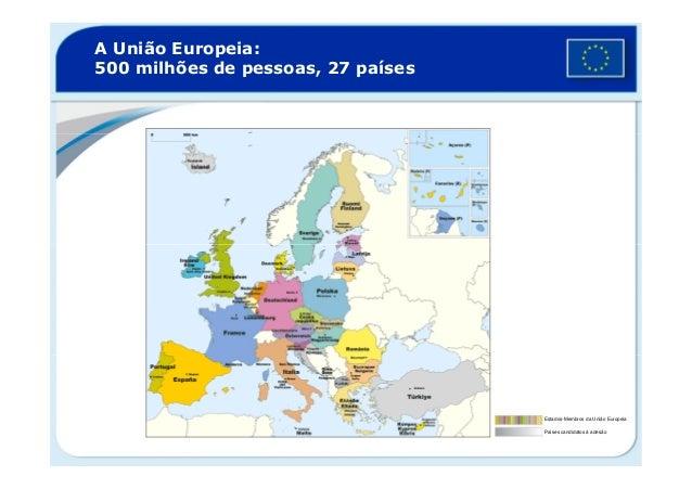 A União Europeia:500 milhões de pessoas, 27 paísesEstados-Membros da União EuropeiaPaíses candidatos à adesão