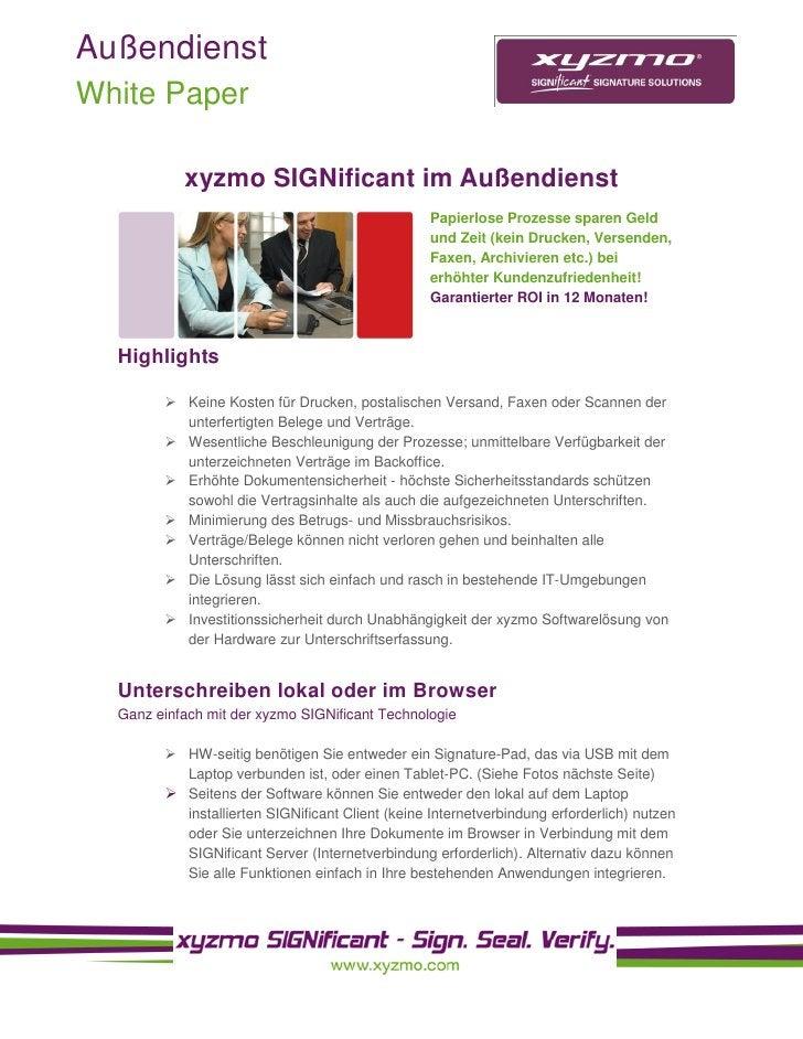 Außendienst White Paper             xyzmo SIGNificant im Außendienst                                                   Pap...