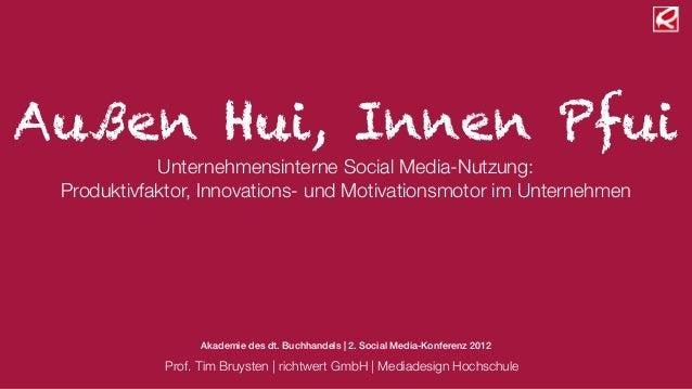 Außen Hui, Innen Pfui            Unternehmensinterne Social Media-Nutzung: Produktivfaktor, Innovations- und Motivationsmo...
