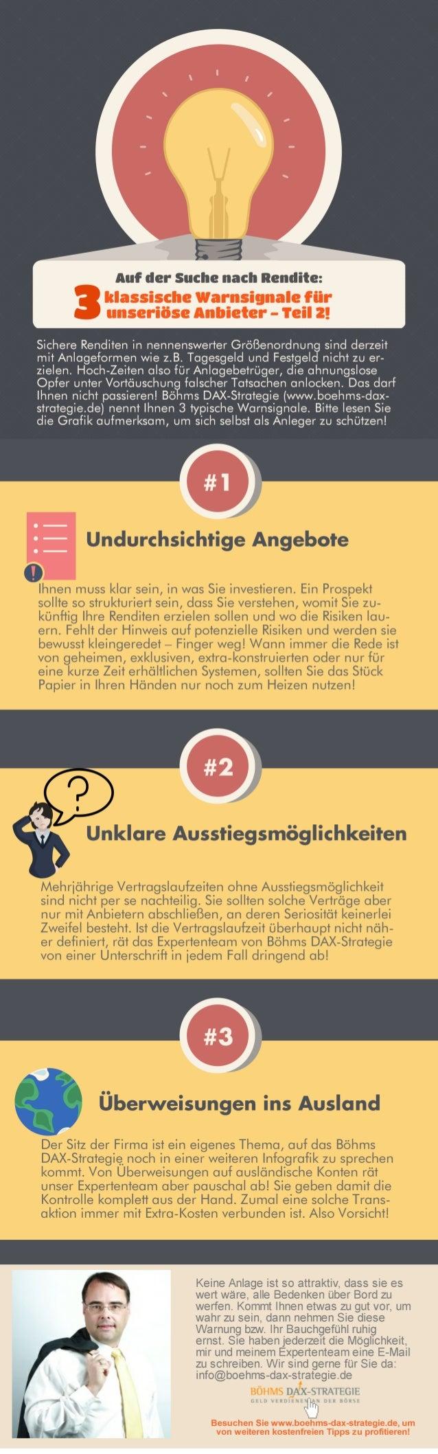 Auf der Suche nach Rendite: 3 klassische Warnsignale für unseriöse Anbieter - Teil-2 von Böhms DAX-Strategie