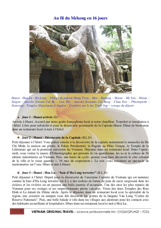 Au fil du Mékong en 16 joursHanoi - Hoa Lu - Ha Long – Village de poterie Dong Trieu – Hue – Danang – Hoian – My Son – Hoi...