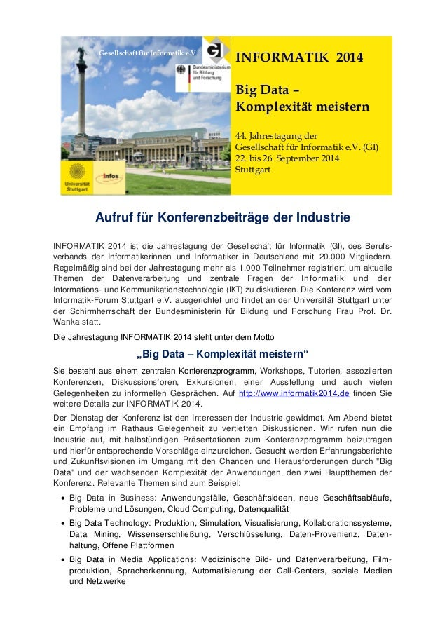 Gesellschaft für Informatik e.V.  INFORMATIK 2014 Big Data – Komplexität meistern 44. Jahrestagung der Gesellschaft für In...
