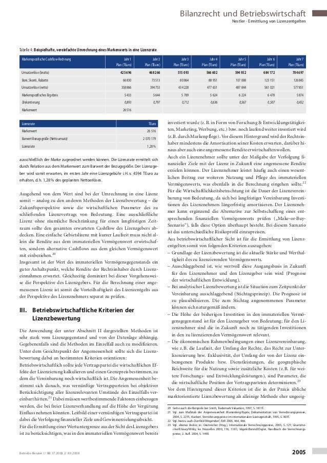 Bilanzrecht und Betriebswirtschaft Nestler · Ermittlung von Lizenzentgelten ausschließlich der Marke zugeordnet werden kön...