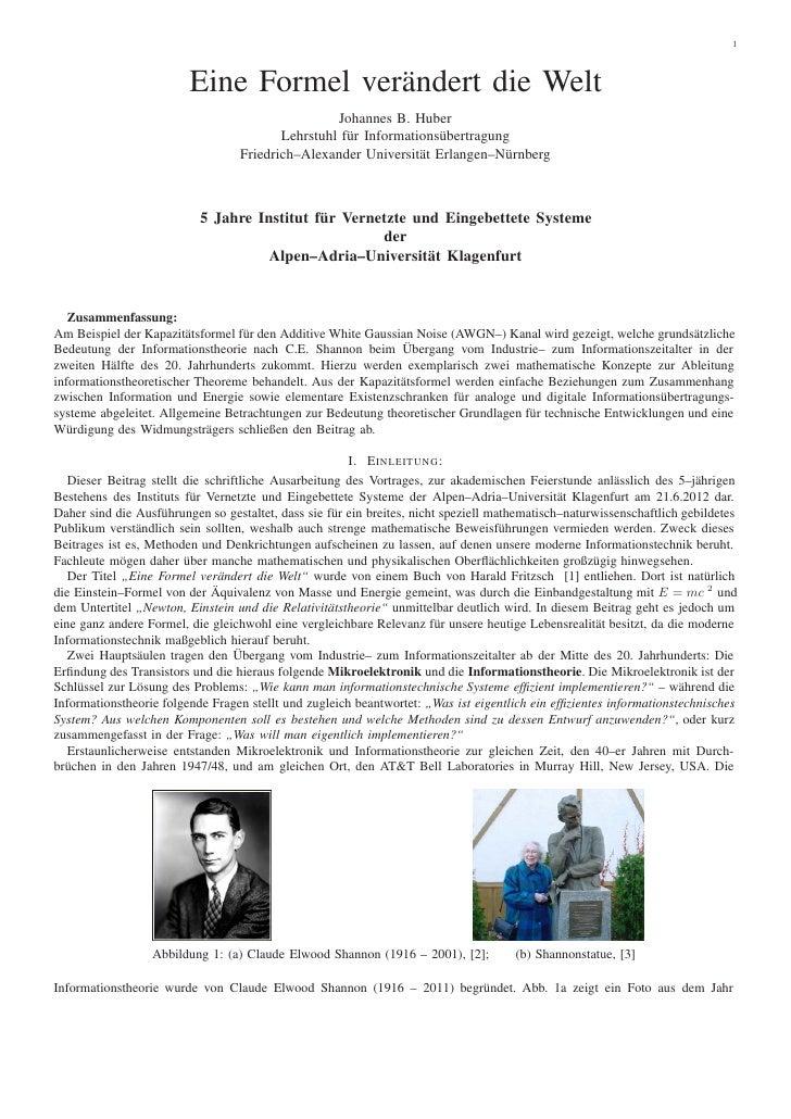 1                         Eine Formel verändert die Welt                                                  Johannes B. Hube...