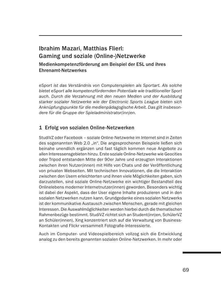 Ibrahim Mazari, Matthias Flierl: Gaming und soziale (Online-)Netzwerke Medienkompetenzförderung am Beispiel der ESL und ih...
