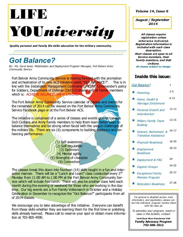 Quality personal and Family life skills education for the military community. Got Balance? By: Ms. Carol Janer, Mobilizati...