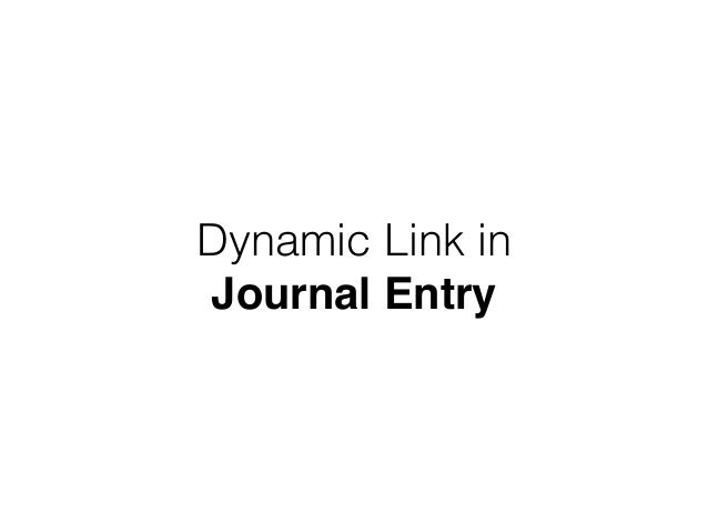 Dynamic Link in Journal Entry