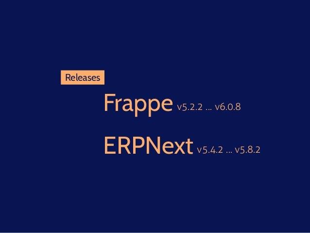 Frappe v5.2.2 … v6.0.8 Releases ERPNextv5.4.2 … v5.8.2