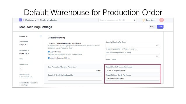 Default Warehouse for Production Order