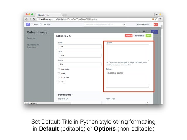 Set Default Title in Python style string formatting in Default (editable) or Options (non-editable)