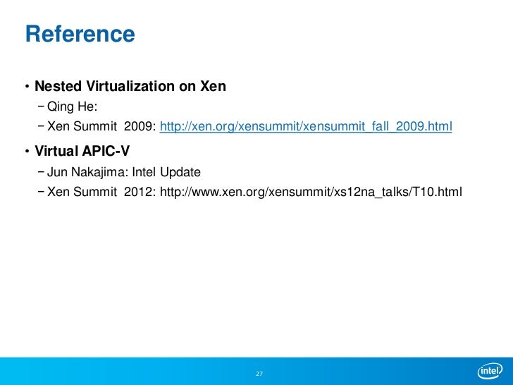 Nested Virtualization Update from Intel