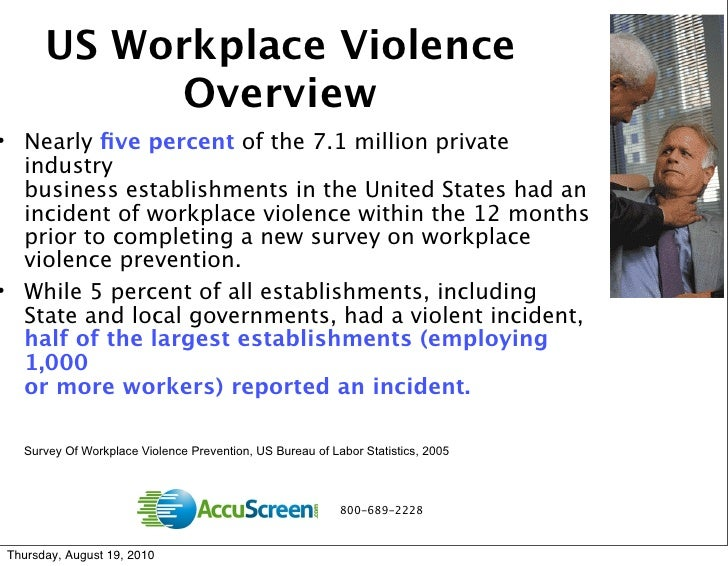 understanding and preventing workplace violence Violence is a significant problem in the united states from infants to the elderly, it affects people in all stages of life in 1992, cdc established the national center for injury prevention and control (ncipc) as the lead federal organization for violence prevention cdc is committed to stopping violence before it begins.