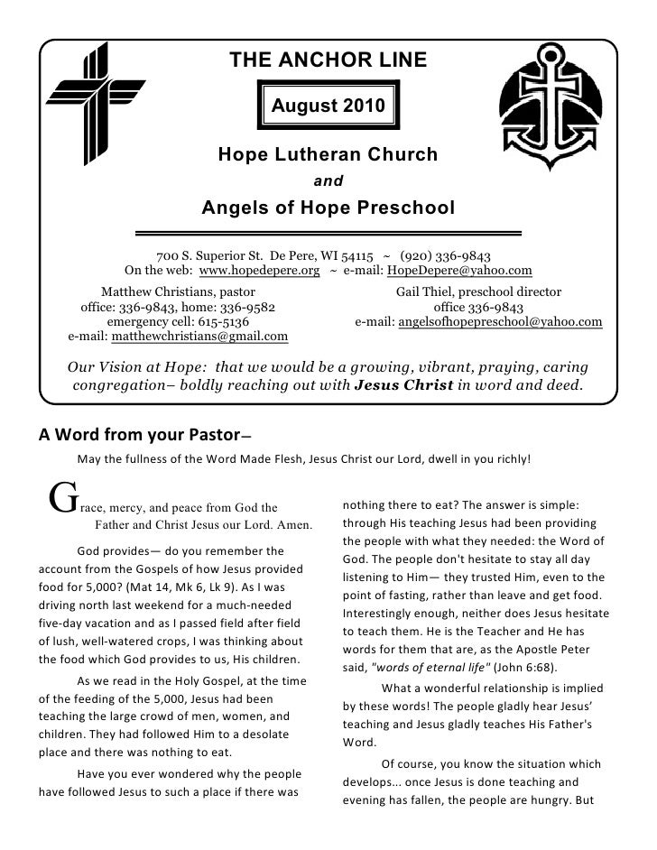 THE ANCHOR LINE                                              August 2010                                    Hope Lutheran ...