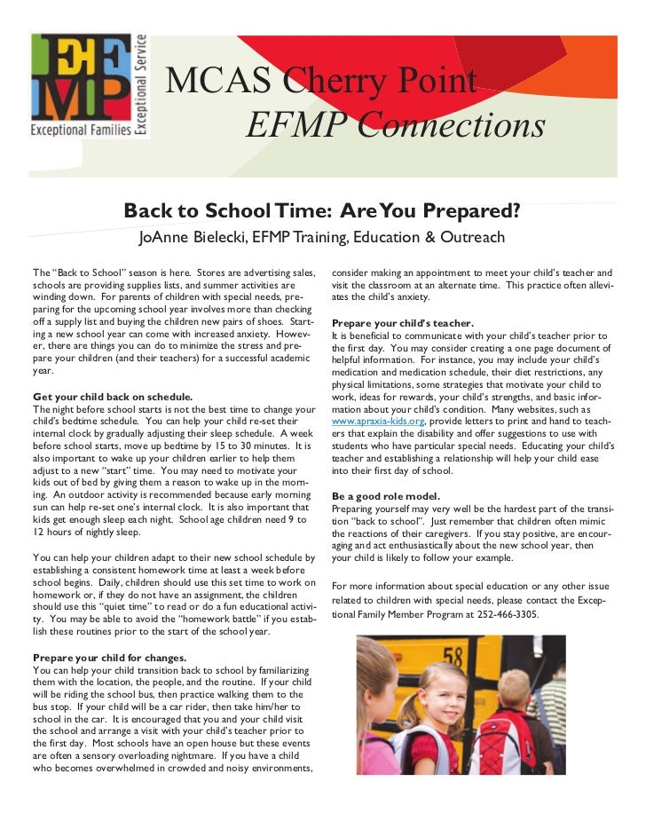 MCAS Cherry Point                                  EFMP Connections                     Back to School Time: Are You Prepa...