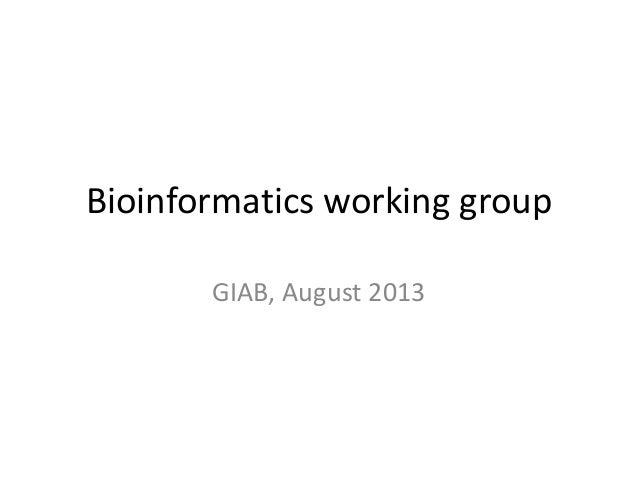 Bioinformatics working group GIAB, August 2013