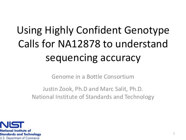 Using Highly Confident Genotype Calls for NA12878 to understand sequencing accuracy Genome in a Bottle Consortium Justin Z...