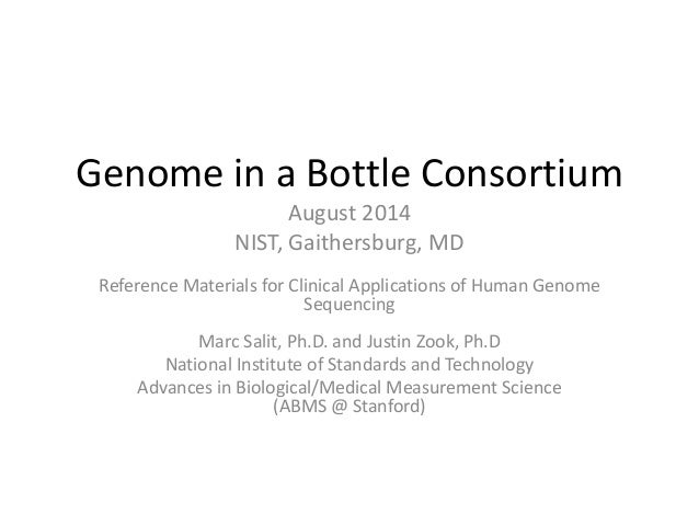 Genome in a Bottle Consortium August 2014 NIST, Gaithersburg, MD Reference Materials for Clinical Applications of Human Ge...