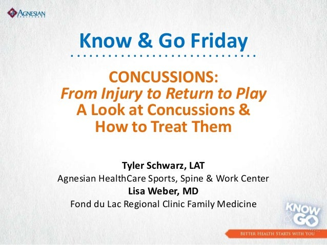 CONCUSSIONS: From Injury to Return to Play A Look at Concussions & How to Treat Them Tyler Schwarz, LAT Agnesian HealthCar...