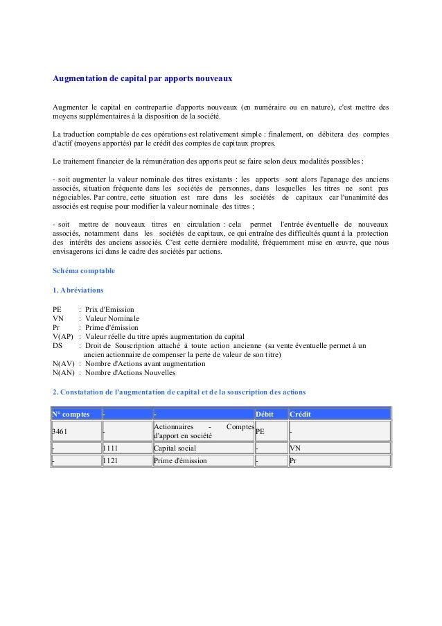 Augmentation de capital par apports nouveaux Augmenter le capital en contrepartie d'apports nouveaux (en numéraire ou en n...