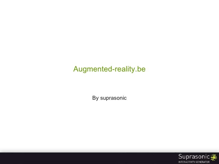 Augmented-reality.be By suprasonic