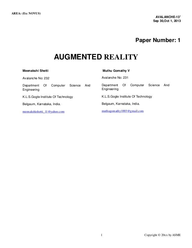 AREA: (Ex: NOVUS)  1 Copyright © 20xx by ASME  AVALANCHE-13+  Sep 30,Oct 1, 2013  Paper Number: 1  AUGMENTED REALITY  Meen...