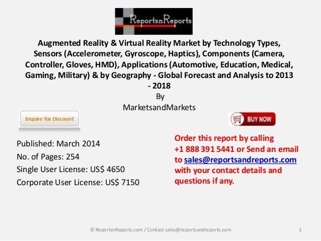 Augmented Reality & Virtual Reality Market by Technology Types,  Sensors (Accelerometer, Gyroscope, Haptics), Components (...