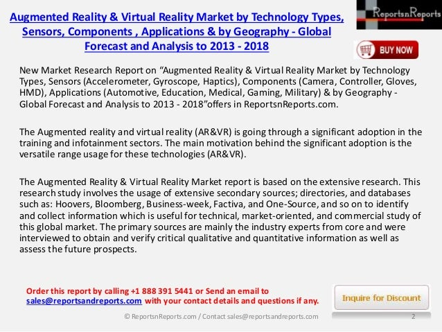 2018 World Augmented Reality & Virtual Reality Market Forecast Report by Challenges & Opportunities Slide 2