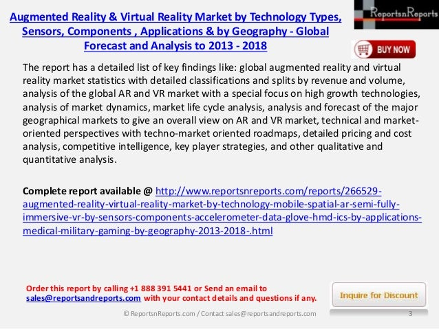 2018 World Augmented Reality & Virtual Reality Market Forecast Report by Challenges & Opportunities Slide 3