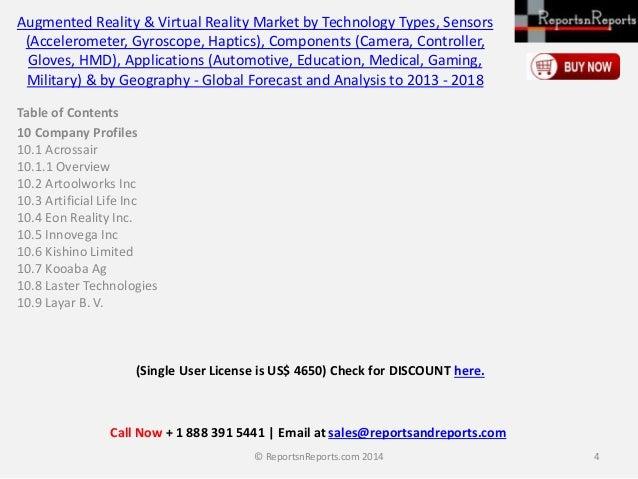 Augmented Reality & Virtual Reality Market by Technology Types, Sensors (Accelerometer, Gyroscope, Haptics), Components (C...