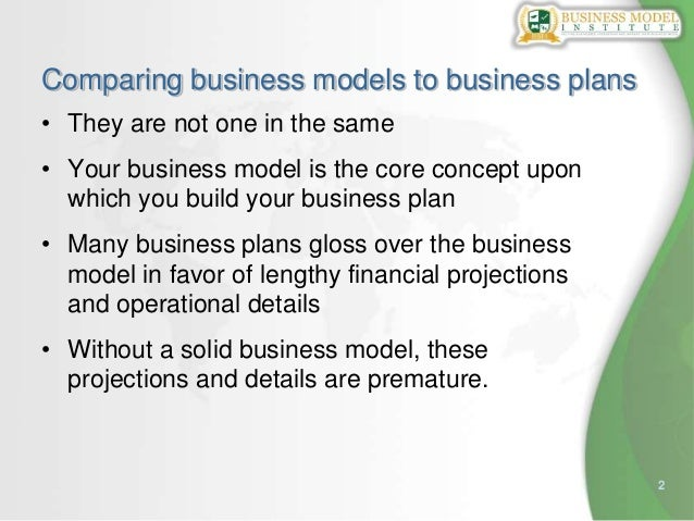 2Comparing business models to business plans• They are not one in the same• Your business model is the core concept uponwh...