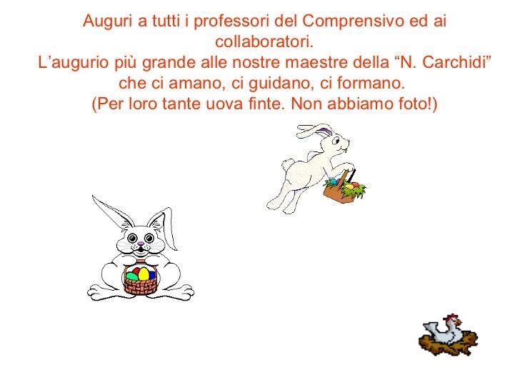 """Auguri a tutti i professori del Comprensivo ed ai collaboratori. L'augurio più grande alle nostre maestre della """"N. Carchi..."""