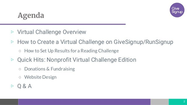 Nonprofits: How to Create a Virtual Challenge Fundraising Campaign Slide 2