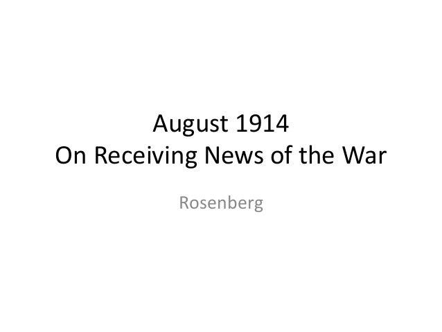 August 1914 On Receiving News of the War Rosenberg