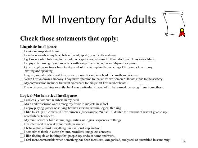 Multiple intelligance for adults