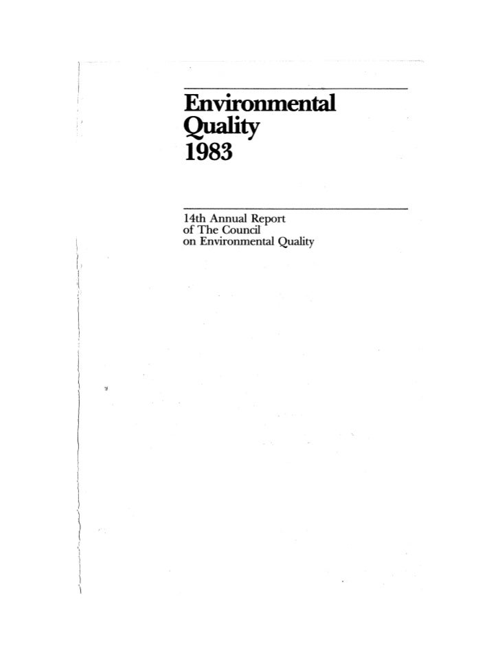 August 1983 The Fourteenth Anual Report Of The Council On Environmental Quality Slide 3