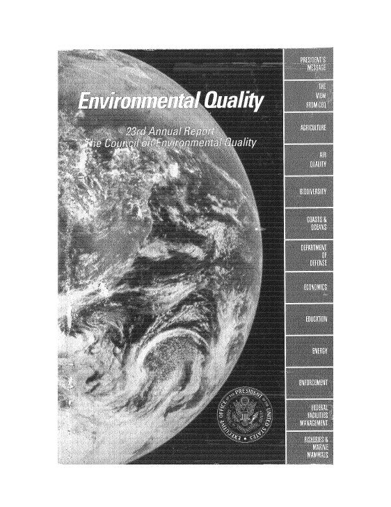 August 1992 The 23rd Annual Report The Council On Environmental Quality