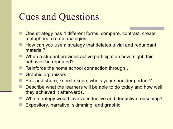 cues questions and advance organizers 4 728