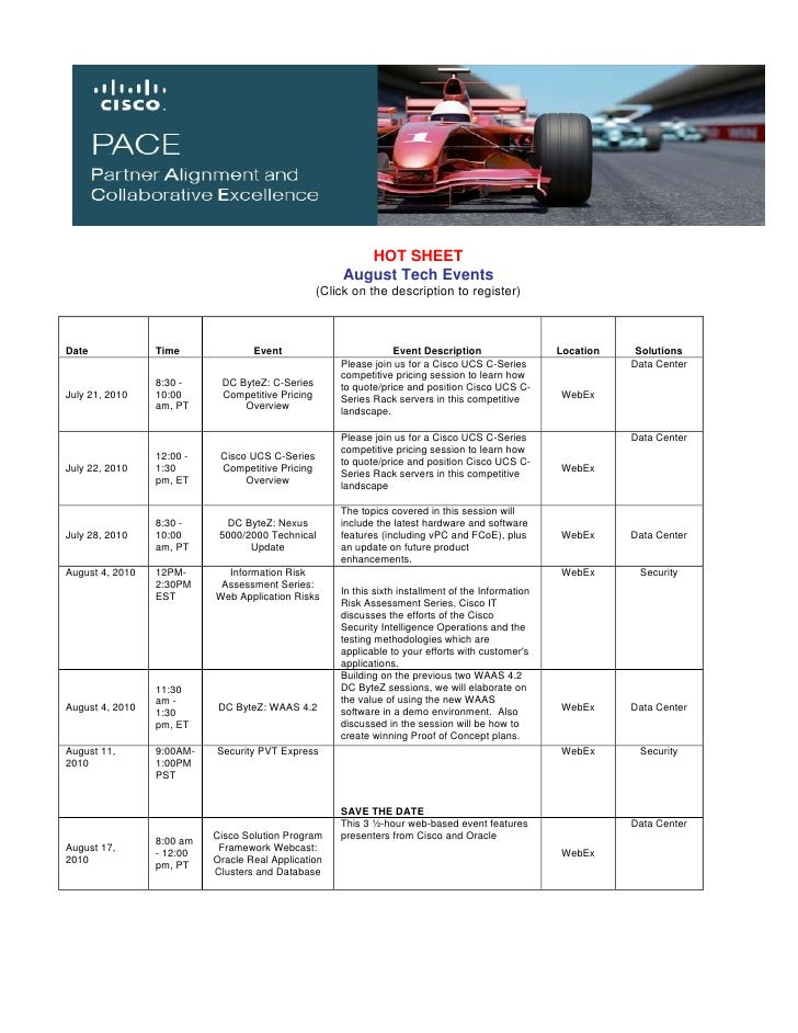 HOT SHEET                                                        August Tech Events                                       ...