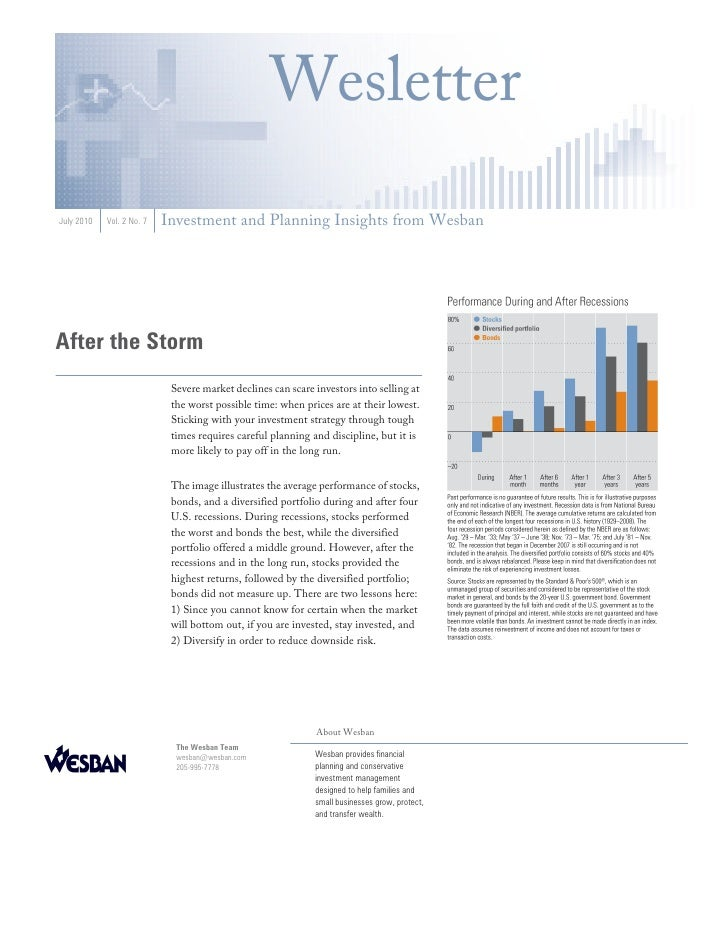Wesletter July 2010   Vol. 2 No. 7   Investment and Planning Insights from Wesban     After the Storm                     ...