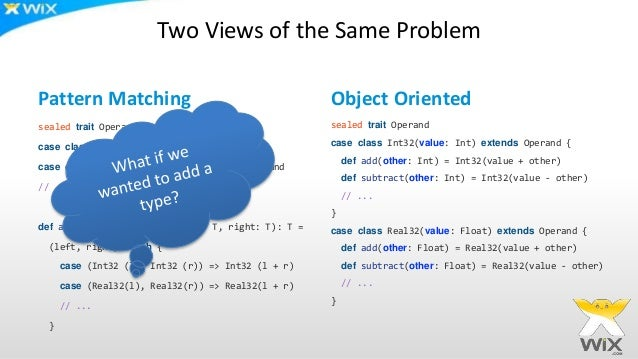 Two Views of the Same Problem Pattern Matching sealed trait Operand case class Int32(value: Int) extends Operand case clas...