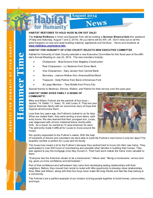 HammerTime HABBITATFORHUMANITYOFUTAHCOUNTY August 2014 News HABITAT RESTORES TO HOLD HUGE BLOW OUT SALE! The Habitat ReSto...