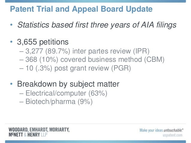 Patent Trial and Appeal Board Update • Statistics based first three years of AIA filings • 3,655 petitions – 3,277 (89.7%)...